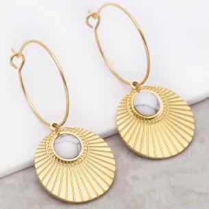 Bijoux boucle d'oreille Menthe À l'O MOARA White Gold  créoles pendantes acier inoxydable doré symbole solaire Bijoux Sauvages