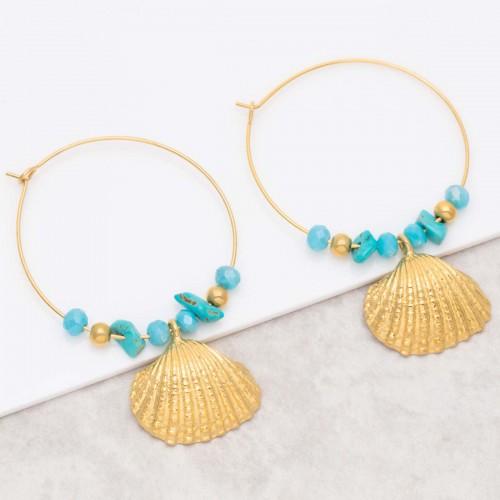 Bijoux boucle d'oreille Menthe À l'O SEARA Turquoise Gold  créoles pendantes acier inoxydable doré breloque coquillage