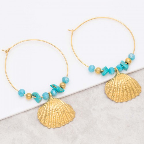 SEARA Turquoise Gold dangling hoop...