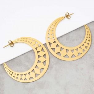 Bijoux boucle d'oreille Menthe À l'O PROMETHEE Gold créoles acier inoxydable doré symbole tribal Bijoux Sauvages