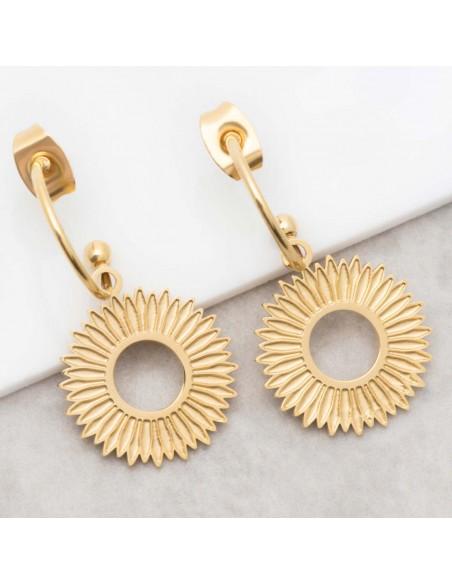 Bijoux boucle d'oreille Menthe À l'O SOREONE Gold créoles pendantes acier inoxydable doré symbole solaire Bijoux Sauvages