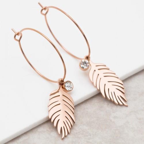 Bijoux boucle d'oreille Menthe À l'O BIRD CRYSTAL Pink Gold  créoles pendantes acier rosé cristal feuille Bijoux Sauvages