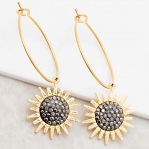 Bijoux boucle d'oreille Menthe À l'O SUN CRYSTAL Grey Gold  créoles pendantes acier doré cristal symbole solaire Bijoux Sauvages