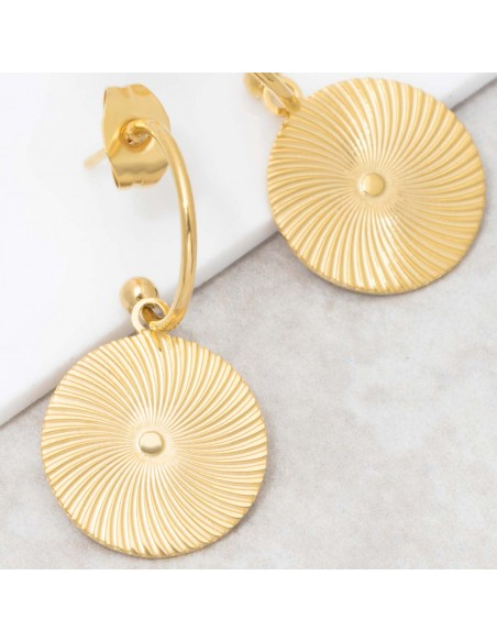 Bijoux boucle d'oreille Menthe À l'O SOAGE Gold créoles pendantes acier inoxydable doré symbole solaire Bijoux Sauvages