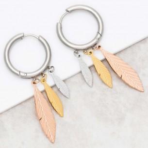 Bijoux boucle d'oreille Menthe À l'O UMEOLA Silver Pink Gold  créoles pendantes acier argent doré rosé plumes Bijoux
