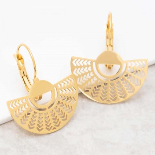 Bijoux boucle d'oreille Menthe À l'O ELINE Gold pendantes acier inoxydable doré demi lune éventail Bijoux Sauvages