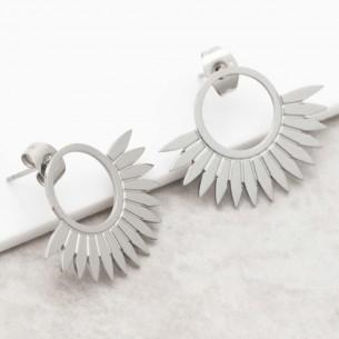 Bijoux boucle d'oreille Menthe À l'O JANGO Silver acier inoxydable argent puce demi lune symbole solaire Bijoux