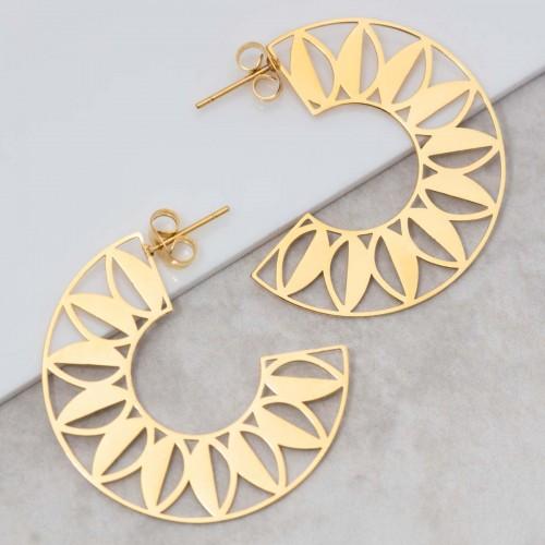 Bijoux boucle d'oreille Menthe À l'O ELOA Gold créoles acier inoxydable doré symbole tribal Bijoux Sauvages