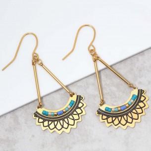 Bijoux boucle d'oreille Menthe À l'O PAVELONE Blue Gold pendantes acier inoxydable doré bleu symbole tribal Bijoux
