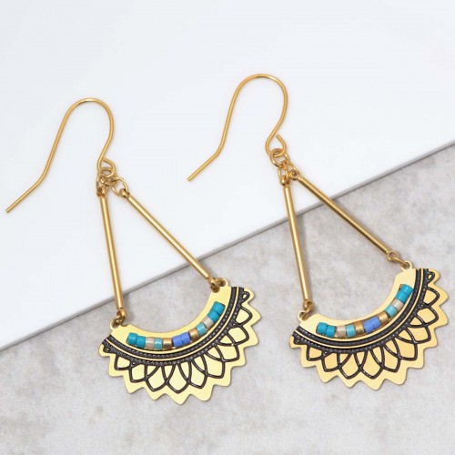 PAVELONE Blue Gold dangling earrings...
