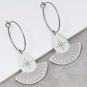 Bijoux boucle d'oreille Menthe À l'O TALIS Silver créoles pendantes acier inoxydable argent symbole ethnique Bijoux Sauvages