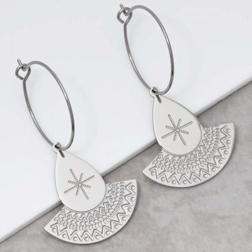 TALIS Silver pendant hoop earrings...