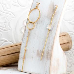 Bijoux boucle d'oreille Menthe À l'O MARLENE Gold cristal minimaliste asymétrique pendante acier inoxydable doré Bijoux Sauvages