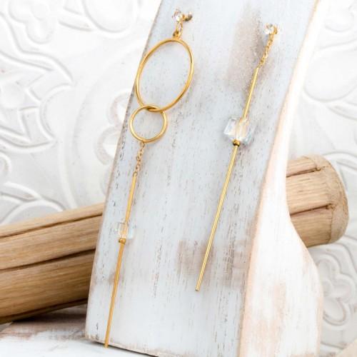 MARLENE Gold minimalist asymmetrical...