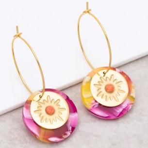 Bijoux boucle d'oreille Menthe À l'O ASTORIA Pink Orange Gold créoles acier Jaspe rouge symbole étoile doré Bijoux Sauvages