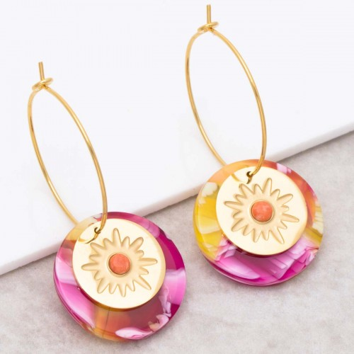 ASTORIA Pink Orange Gold pendant hoop...