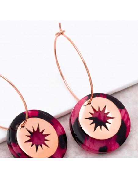 Bijoux boucle d'oreille Menthe À l'O STELO Pink Gold créoles pendantes acier symbole étoile rosé Bijoux Sauvages