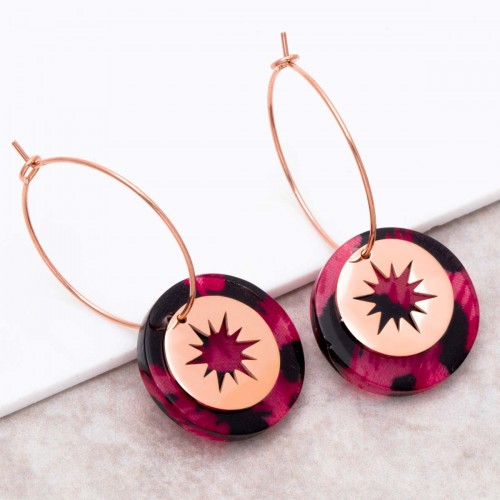 STELO Pink Gold pendant hoop earrings...
