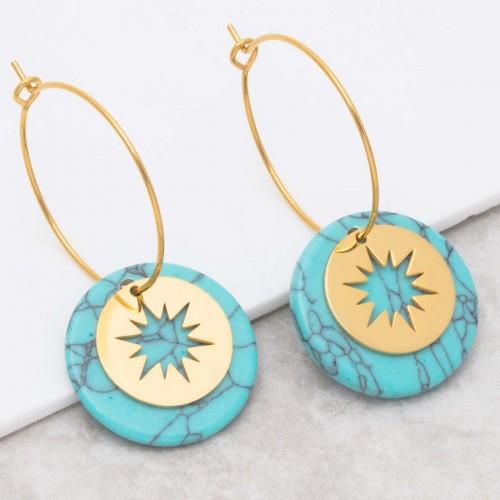 STELO Turquoise Gold pendant hoop...