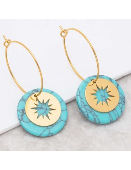 Bijoux boucle d'oreille Menthe À l'O STELO Turquoise Gold créoles pendantes acier symbole étoile doré Bijoux Sauvages