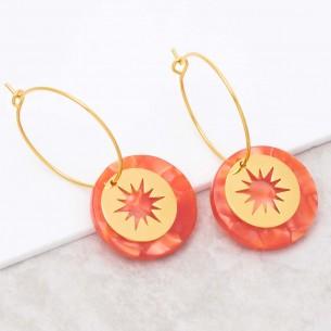 Bijoux boucle d'oreille Menthe À l'O STELO Orange Gold créoles pendantes acier symbole étoile doré Bijoux Sauvages
