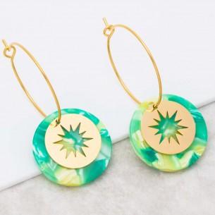 Bijoux boucle d'oreille Menthe À l'O STELO Green Gold créoles pendantes acier symbole étoile doré Bijoux Sauvages