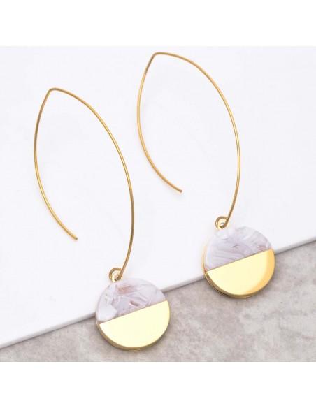 Bijoux boucle d'oreille Menthe À l'O URUKA White Gold créoles pendantes acier doré Bijoux Sauvages