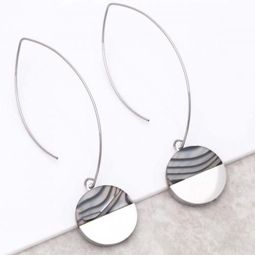 URUKA Silver pendant hoop earrings...