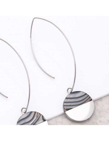 Bijoux boucle d'oreille Menthe À l'O URUKA Silver créoles pendantes acier argent Bijoux Sauvages
